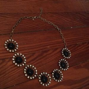 J crew gold with black and crystal stones necklace